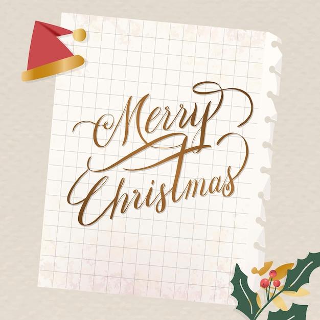 Feestelijke merry christmas belettering voor wenskaart Gratis Vector