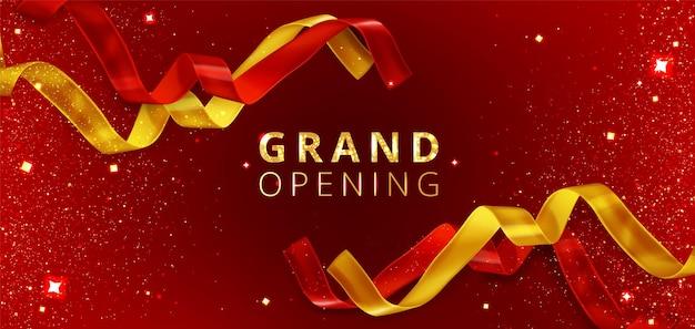 Feestelijke opening evenement achtergrond met gesneden rode en gouden linten Gratis Vector