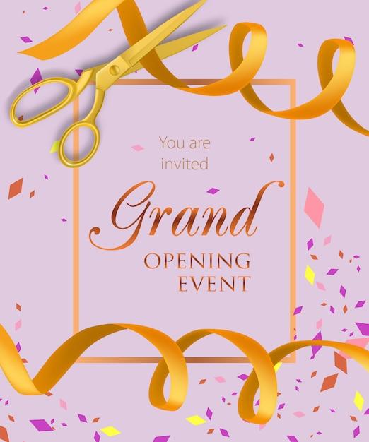 Feestelijke opening evenement belettering met gele linten Gratis Vector
