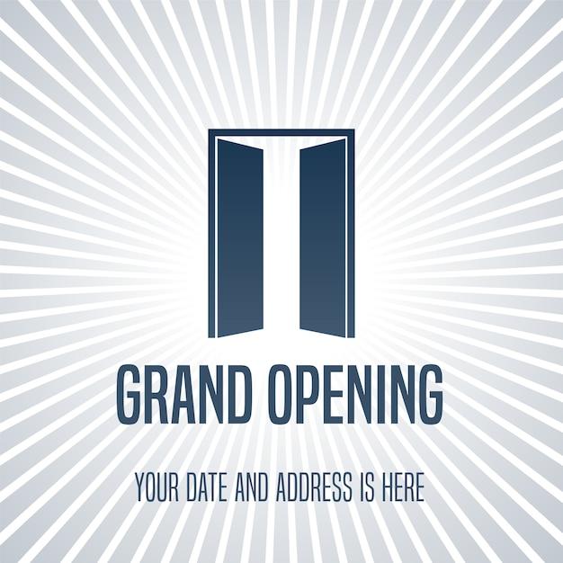 Feestelijke opening illustratie, achtergrond met open deur Premium Vector