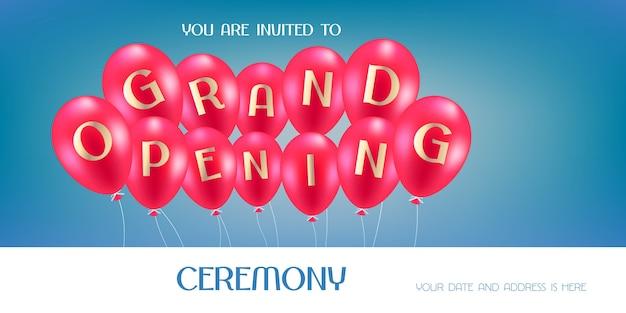 Feestelijke opening illustratie, achtergrond, uitnodigingskaart. sjabloon uitnodigen voor openingsceremonie Premium Vector