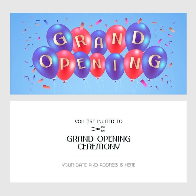 Feestelijke opening illustratie, uitnodigingskaart voor nieuwe winkel. sjabloonbanner, element voor openingsceremonie, rood lint doorsnijden met luchtballonnen Premium Vector