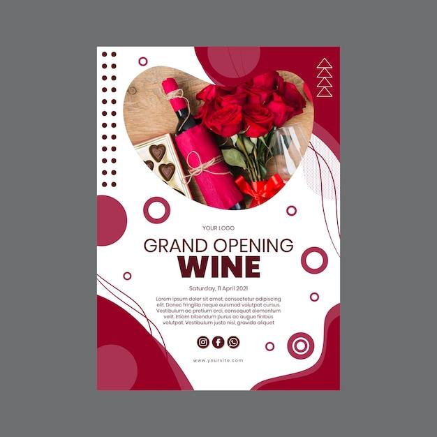 Feestelijke opening wijn poster sjabloon Gratis Vector