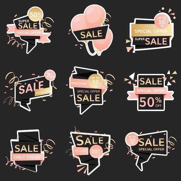 Feestelijke verkoopborden Gratis Vector