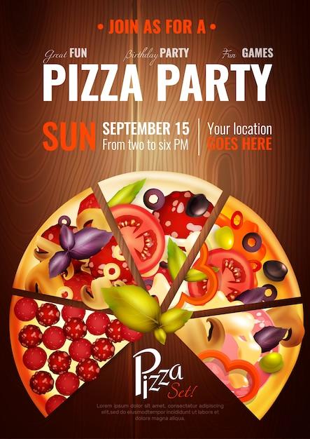 Feesturen pizza poster Gratis Vector