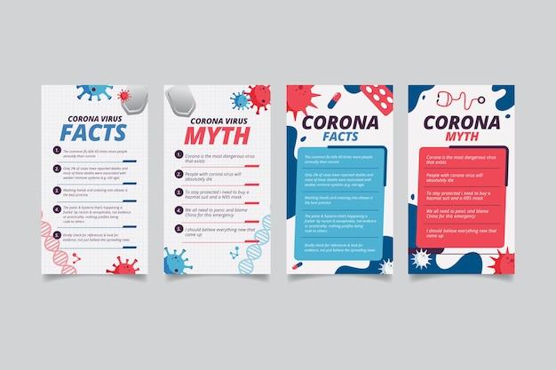 Feiten en mythen over coronavirus voor instagram-berichten Gratis Vector
