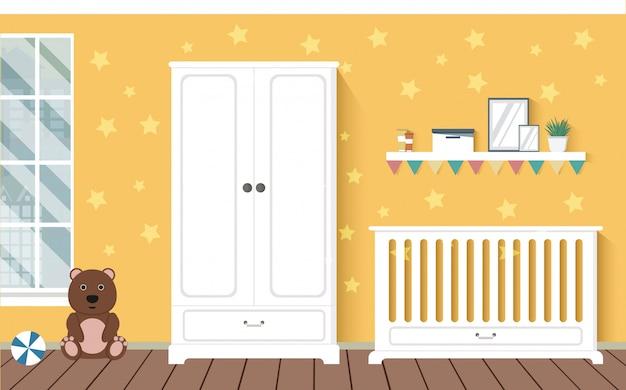 Fel oranje babykamer met meubels. kwekerij interieur. stijlvol interieur. kinderkamer. Premium Vector