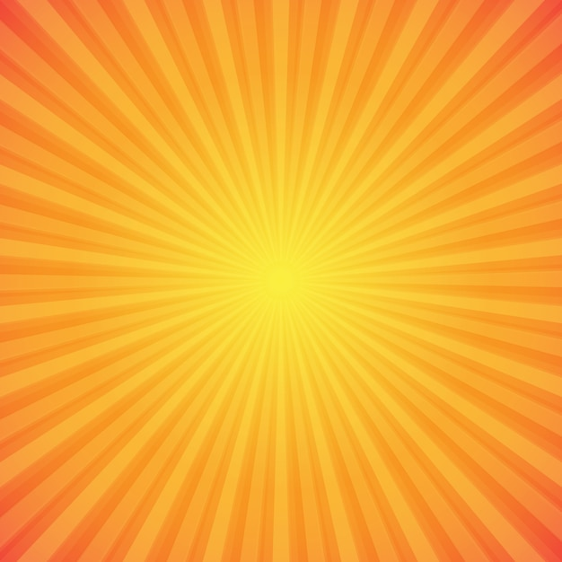 Fel oranje en gele sunburst achtergrond Gratis Vector