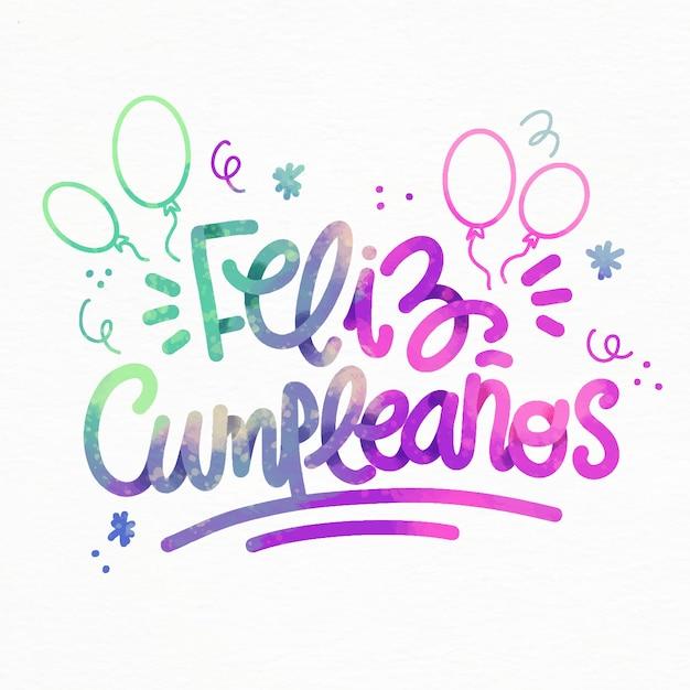Feliz cumpleaños belettering met ballonnen Gratis Vector