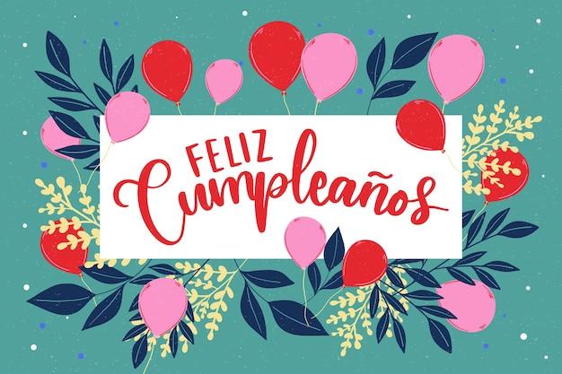 Feliz cumpleaños belettering Gratis Vector