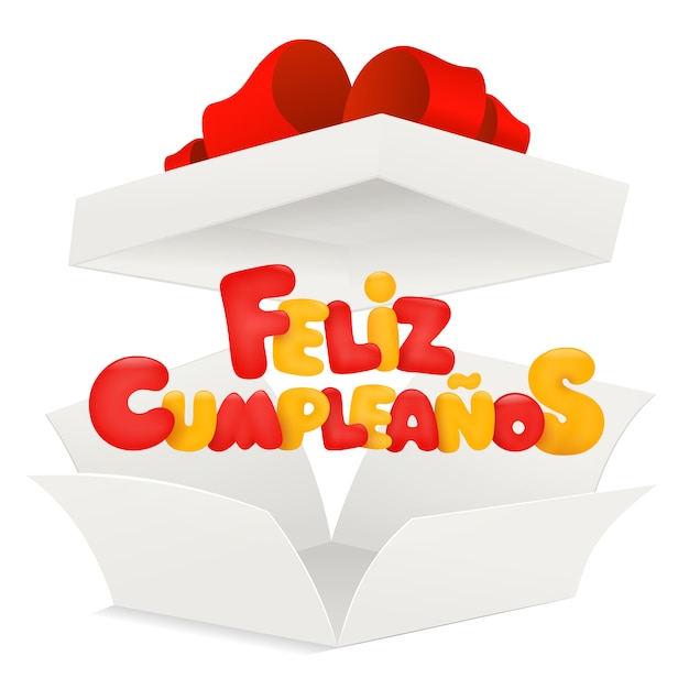 Feliz cumpleanos - gelukkige verjaardag in spaanse groetkaart met geopende doos. Premium Vector