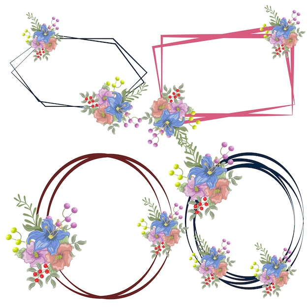 Feminine floral logo frames bloemist bruiloft roer Premium Vector