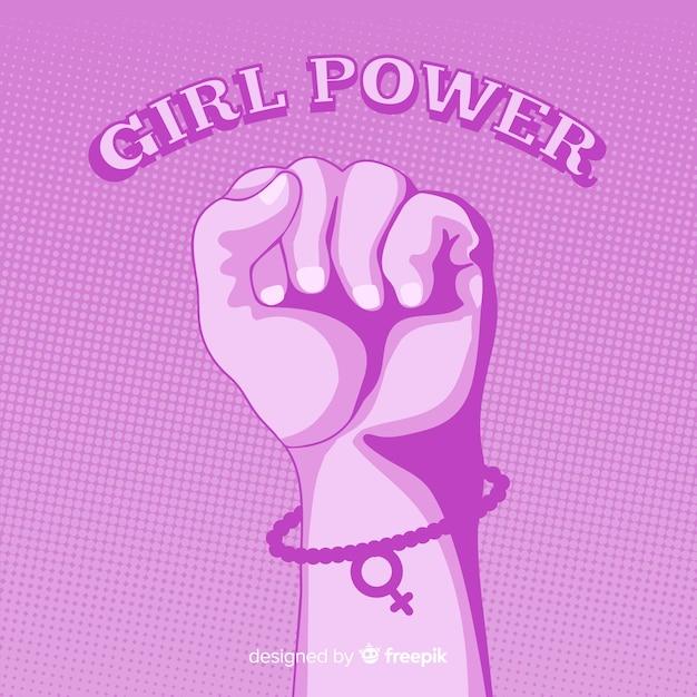 Feminisme-compositie met platte vuist Gratis Vector