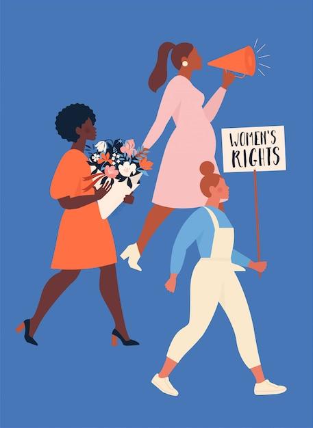 Feminisme concept. een groep vrouwen van verschillende nationaliteiten die protesteren en hun rechten opeisen. empowerment van vrouwen. Premium Vector