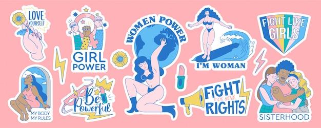 Feministische en lichaam positieve set collectie stickers badges ontwerpen. vrouwelijke bewegingen cartoon illustratie met inspirerende citaten. ondersteuning voor vrouwen en meisjes. trendy hipster tekenen. Premium Vector