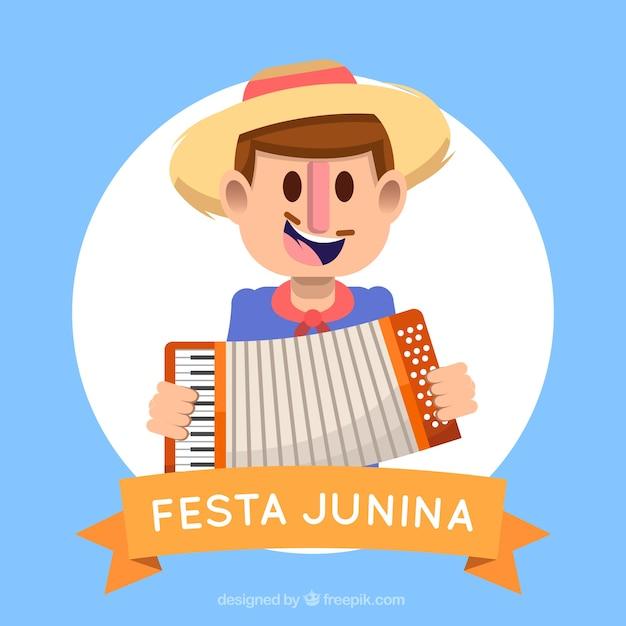 Festa junina-achtergrond met de mens die een harmonika spelen Gratis Vector
