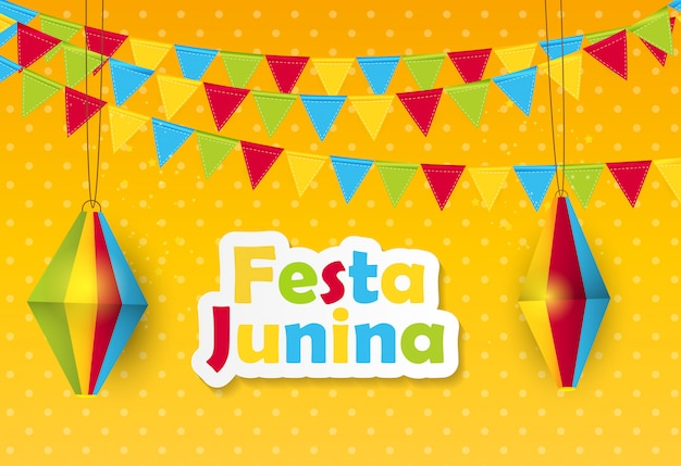 Festa junina achtergrond Premium Vector
