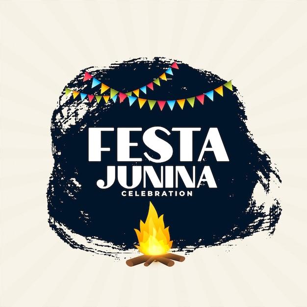 Festa junina braziliaanse festival poster achtergrondontwerp Gratis Vector