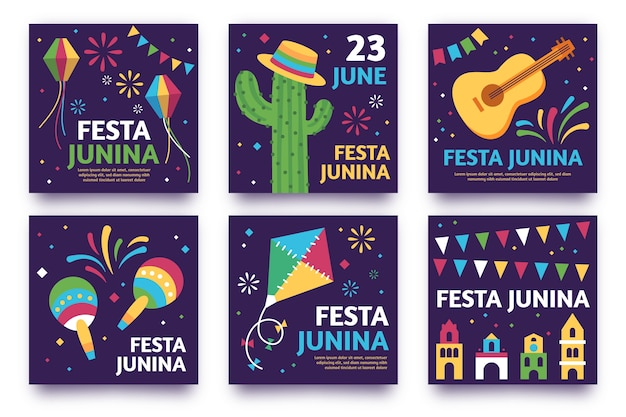 Festa junina card collection template thema Gratis Vector