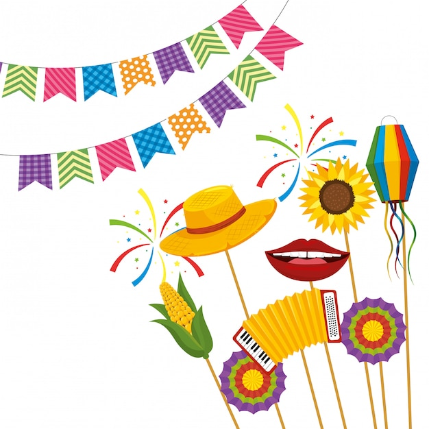 Festa junina cartoon Premium Vector