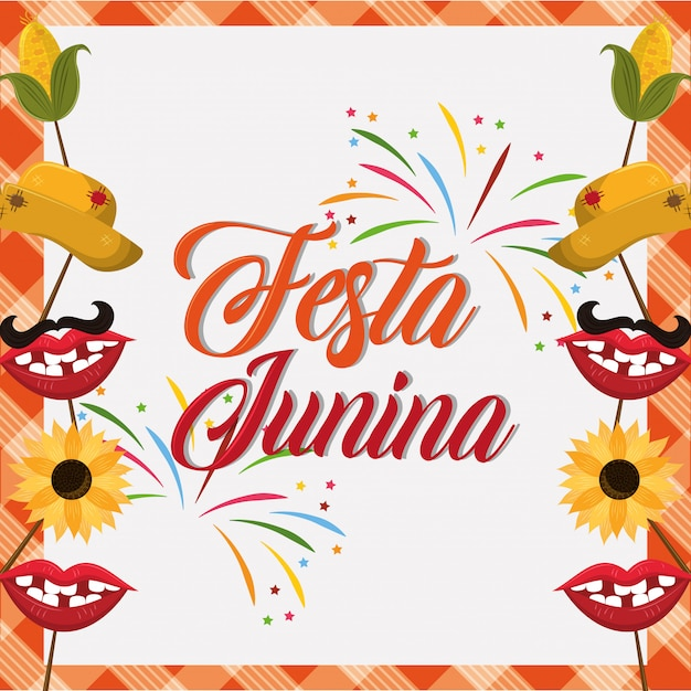 Festa junina concept cartoon Premium Vector