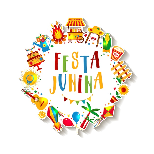 Festa junina dorpsfeest in latijns-amerika. pictogrammen in felle kleuren. decoratie in festivalstijl. Premium Vector