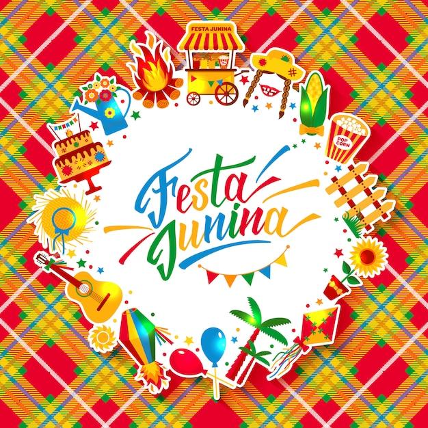 Festa junina dorpsfeest in latijns-amerika. pictogrammen in felle kleuren. decoratie in festivalstijl. Premium Vector