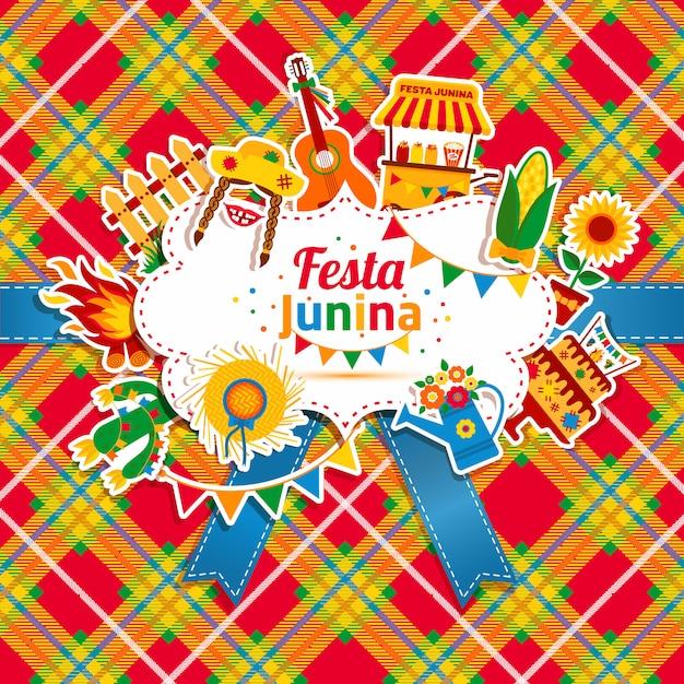 Festa junina dorpsfeest in latijns-amerika. pictogrammen in felle kleuren. vlakke stijldecoratie. Premium Vector