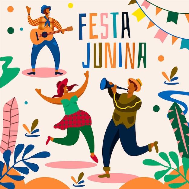 Festa junina evenement geïllustreerd concept Gratis Vector