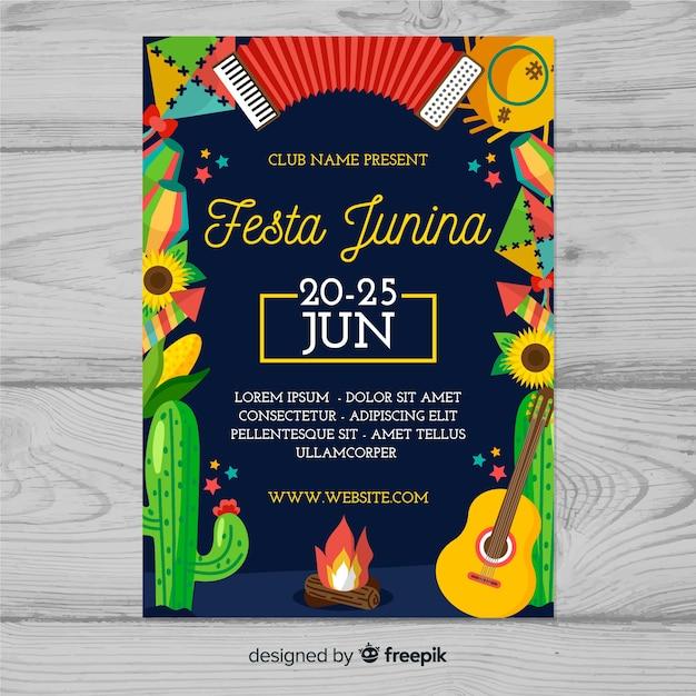 Festa junina flyer sjabloon Gratis Vector