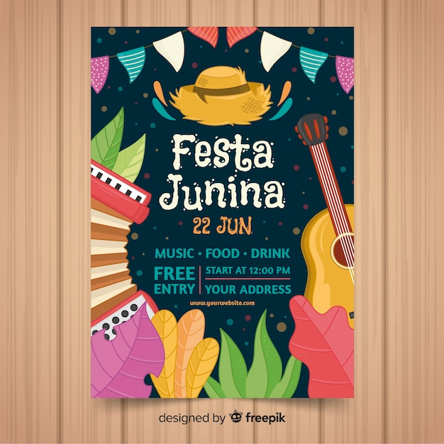 Festa junina flyer sjabloon Gratis Vector