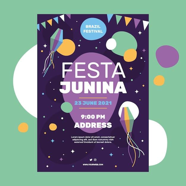 Festa junina flyer-sjabloon Gratis Vector