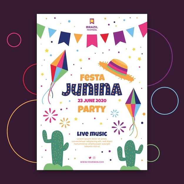 Festa junina flyer template thema Gratis Vector