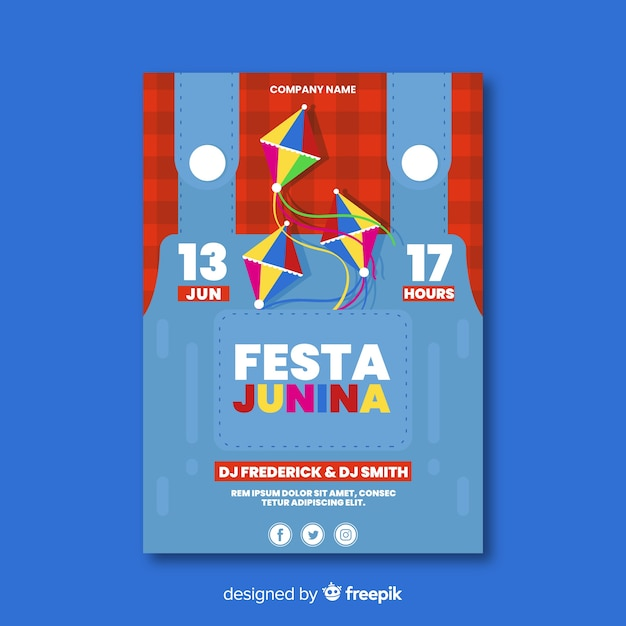 Festa junina-flyer Gratis Vector