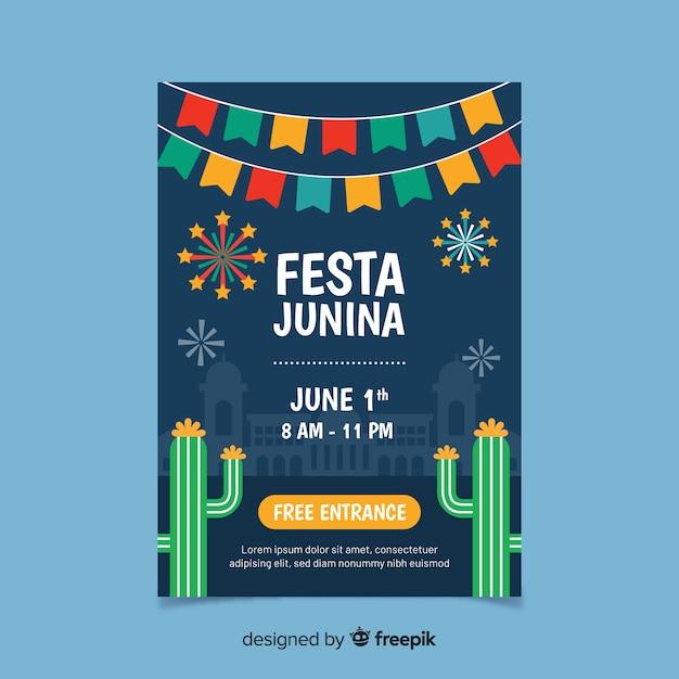Festa junina-flyer Gratis Vector