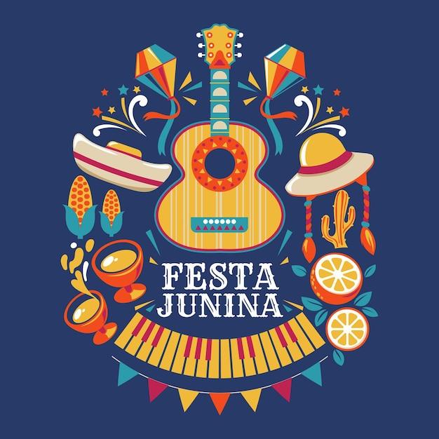 Festa junina gitaar en feestelijke voorwerpen Gratis Vector