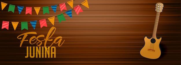 Festa junina houten banner met gutar Gratis Vector