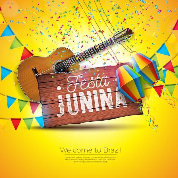 Festa junina-illustratie met akoestische gitaar en partijvlaggen Premium Vector