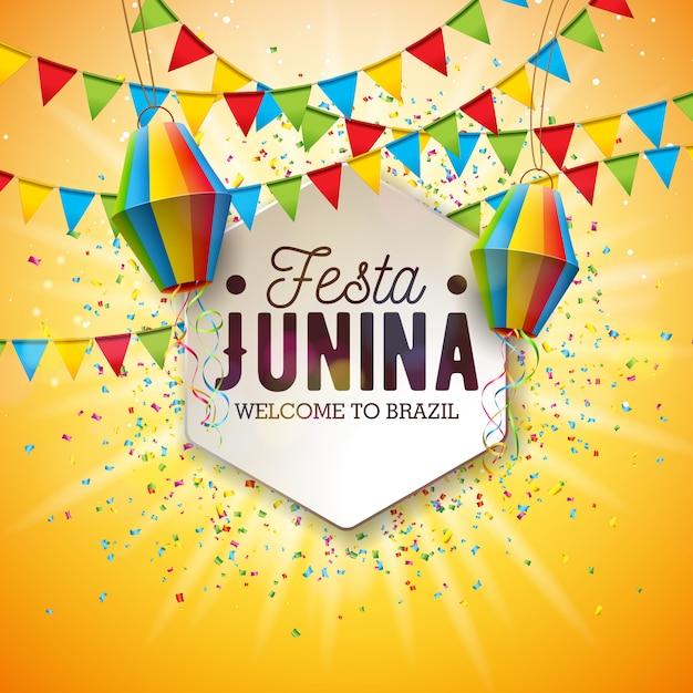 Festa junina illustratie met partijvlaggen en papieren lantaarn Premium Vector