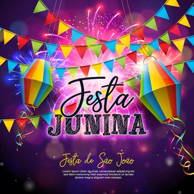 Festa junina illustratie met vlaggen en papieren lantaarn Premium Vector