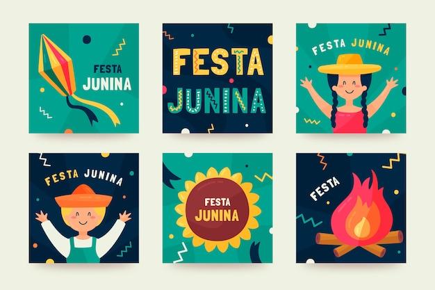 Festa junina kaartcollectie ontwerp Gratis Vector