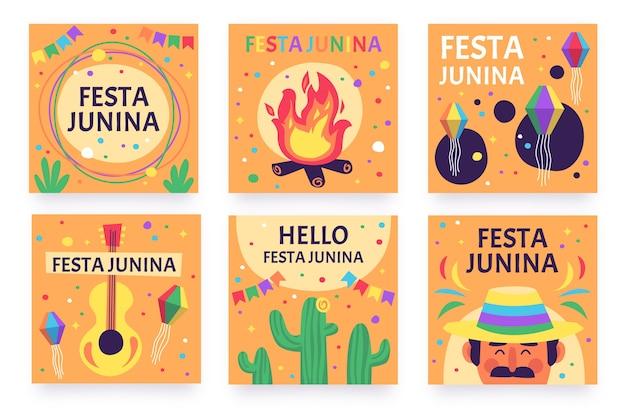 Festa junina kaartcollectie sjabloonontwerp Gratis Vector
