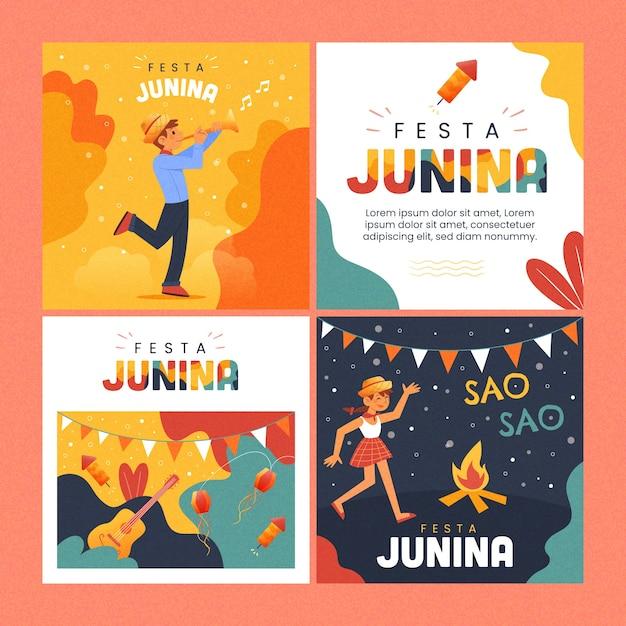 Festa junina kaartcollectie Gratis Vector