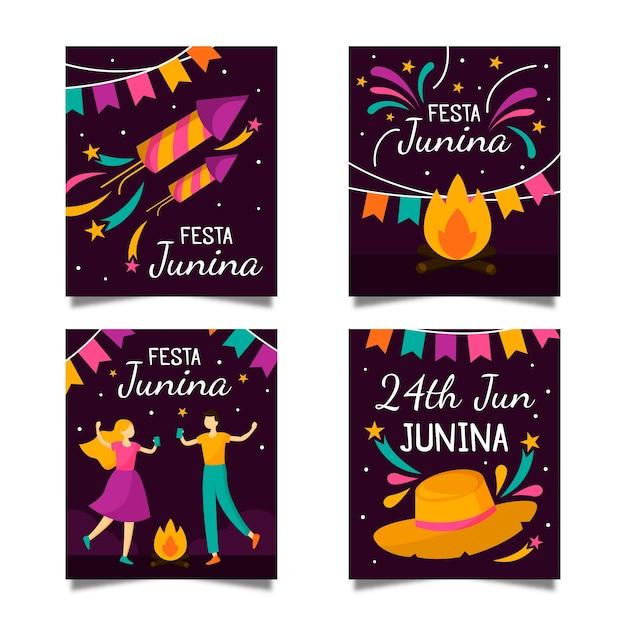 Festa junina-kaartcollectiesjabloon Gratis Vector