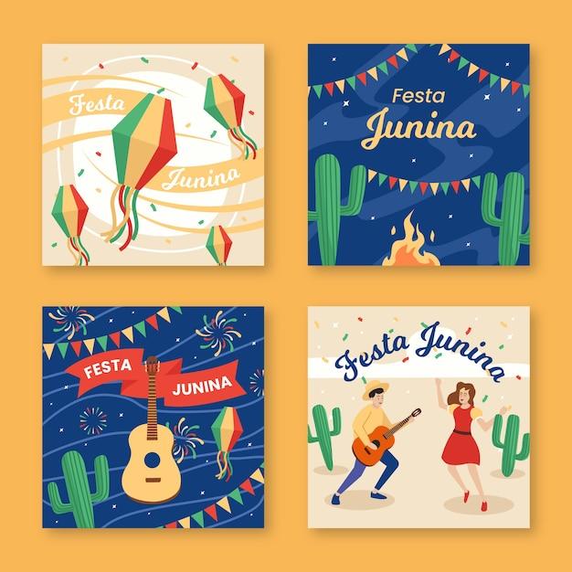 Festa junina-kaartenset met plat ontwerp Gratis Vector