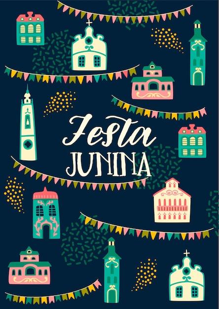 Festa junina-letters en decoratieve elementen Premium Vector