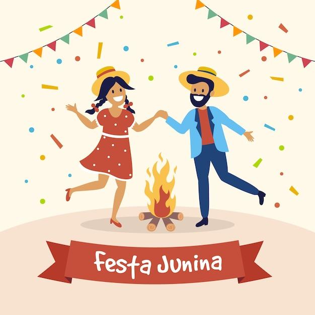 Festa junina mensen dansen rond het vuur Gratis Vector