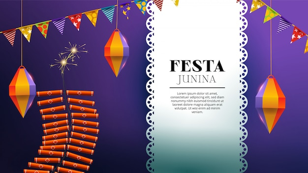Festa junina met vuurwerk, lantaarn en wimpels Gratis Vector