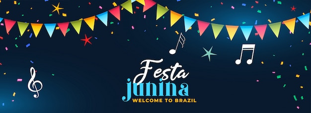 Festa junina partij viering muziek banner Gratis Vector