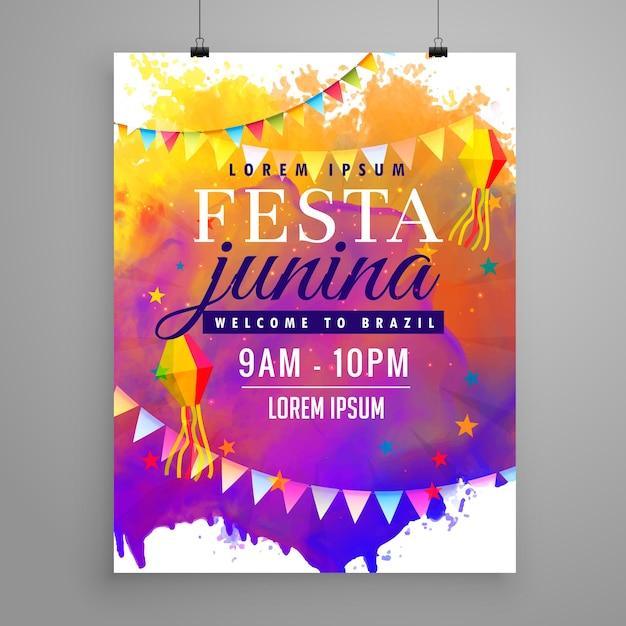 Festa junina partij viering uitnodiging flyer ontwerp Gratis Vector